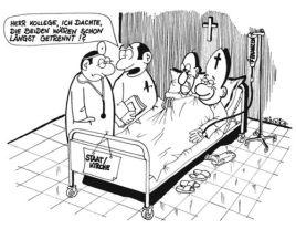 Satire-Cartoon: Staat und Kirche im Bett