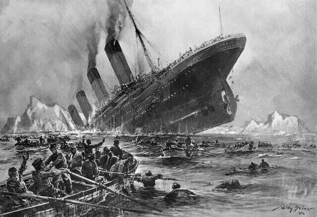 Untergang der MS Titanic (public domain auf Wiki Commons)
