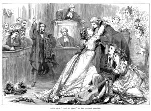 Engraving of Gilbert and Sullivan's Trial by Jury