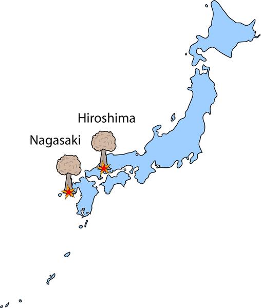 Grafik: Atombomben auf Japan 1945