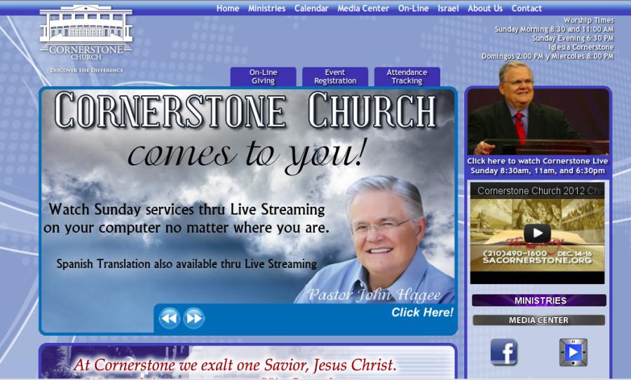 HP der Cornerstone Church. Screenshot brightsblog