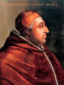 Papst Alexander VI. Gemälde von Cristofano dell'Altissimo (1525–1605). Museum Corridoio Vasariano in Florenz