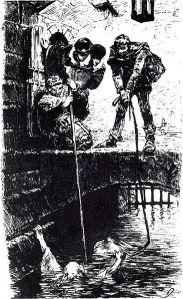 """Die Hexenprobe. Zeichnung von G. Franz aus """"Germania"""" von 1878 (public domain)"""