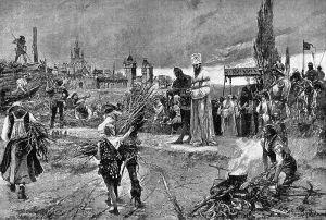 Jan Hus' Gang zum Scheiterhaufen, Konstanzer Konzil 1415 (Bild: Carl Gustaf Hellqvist (1851-1890), public domain)