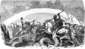 """""""Kampf der untergehenden Götter"""" von F. W. Heine (Public Domain)"""