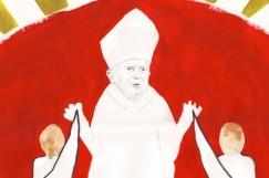 Foto: Jan Egesborg/Surrend Johannes Paul II. und die Sexualmoral der katholischen Kirche stehen hier in der Kritik. Das Werk ist eine Auftragsarbeit für das Karikatur-Museum in Kassel