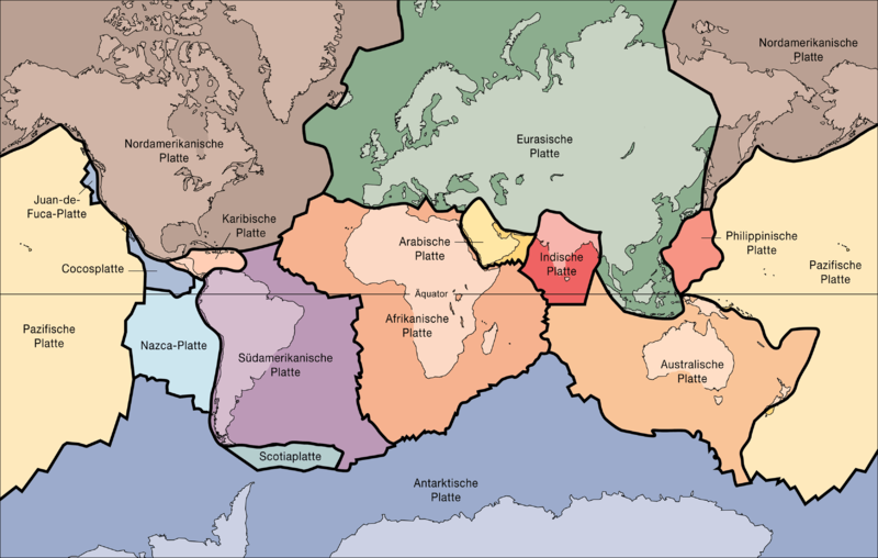Tektonische Platten (Bild: United States Geological Survey/Public Domain)