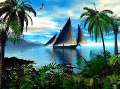 sailing boat, sea, palm trees, plants 189894