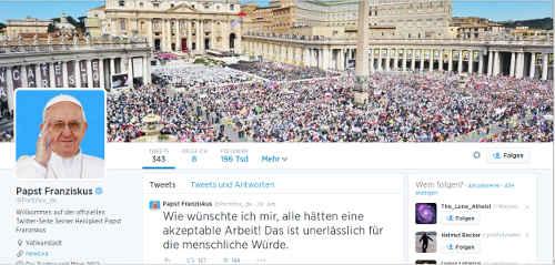 Twitteraccount @Pontifex_de, Screenshot: bb