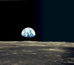 Erde vom Mond ausgesehen. Bild: NASA