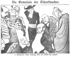 """Die Gemeinde der Scharfmacher, Ernst von Heydebrand: """"Dieser Erzherzog starb uns wirklich sehr gelegen!"""" -- in Vorwärts 1914 (gemeinfrei)"""