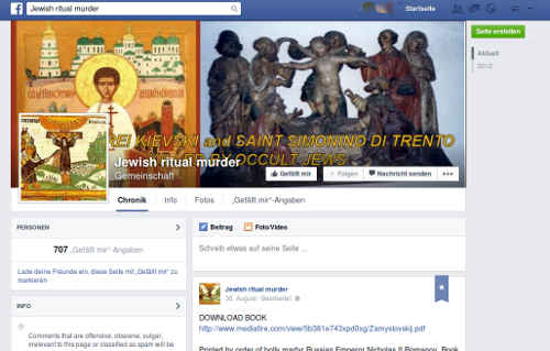 Facebook Gruppe: Jewish Ritual Murder. Bild. BB