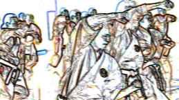 Freude an der Kampfkunst, nicht aber an der Gewalt: fortgeschrittene Karateka bei einem Lehrgang in Strausberg. (Hans Wiedl, dpa picture-alliance, bearb. BB)