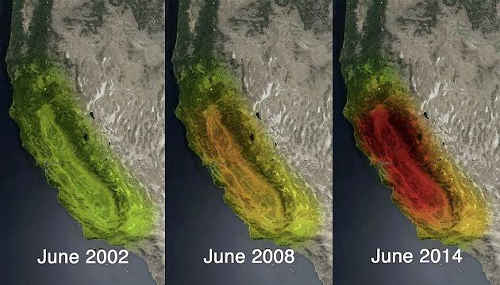 Satellitenaufnahmen der NASA machen das Ausmaß der Trockenheit in Kalifornien deutlich. NASA/JPL-Caltech/University of California, Irvine