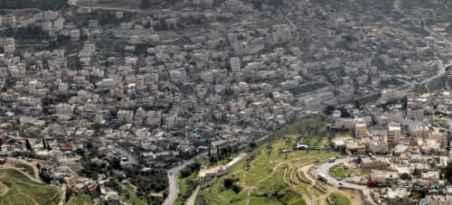A bird's eye view of the Arab neighborhood of Silwan in East Jerusalem (photo credit: Nati Shohat/Flash90)