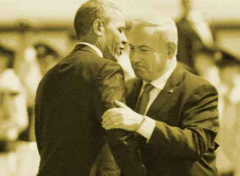 Prime Minister Benjamin Netanyahu, right, and President Barack Obama embrace at a ceremony welcoming the US leader at Ben Gurion Airport near Tel Aviv, on March 20, 2013 (photo credit: Miriam Alster/Flash90) bearb.:BB