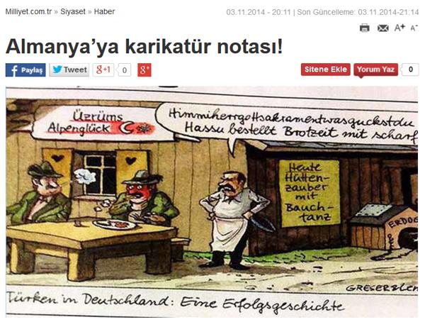 Die türkische Zeitung «Milliyet» veröffentlichte die Karikatur am Montag erneut auf ihrer Website. (Screenshot)