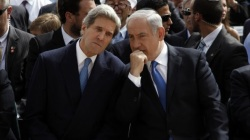 Prime Minister Benjamin Netanyahu, right, speaks with US Secretary of State John Kerry in Jerusalem in 2013. (photo credit: AP/Gali Tibbon)