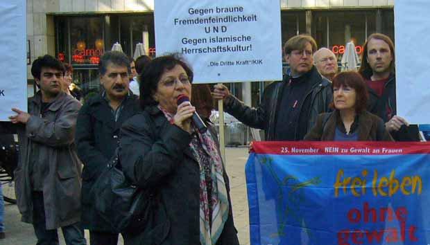 Mina Ahadi und Udo Ulfkotte demonstrieren mit KIK gegen Islamkritik unautorisierter Bürger