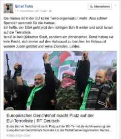 Spendenaufruf durch Erhat Toka auf Facebook. Screenshot:BB