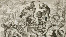 "Foto: Maerten van Heemskerck/via Wikimedia Commons ""Gideon zerstört Baals Altar"", Kupferstich von Maerten van Heemskerck (1498-1574)"