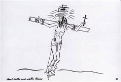 Kriegsopfer oder Kriegstreiber? George Grosz zeichnete seinen Christus mit Gasmaske gleich mehrfach, bevor ihm 1928 der Prozess gemacht wurde