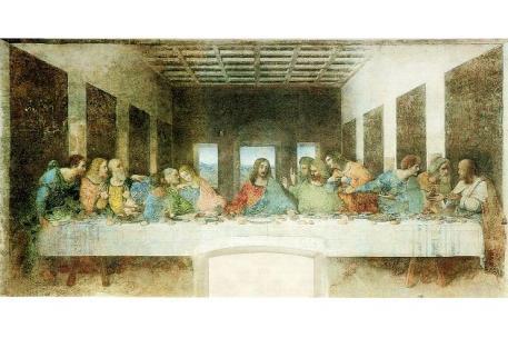 """Da Vinci stellte mit dem Gemälde aber nicht nur die Szene an sich dar. Er arbeitete laut Salleck seine ganze Weltanschauung in das """"Letzte Abendmahl"""" mit ein. Die drei zu sehenden Wände des Raumes stehen je für eine Abteilungen der Philosophie: Logik, Ethik und Naturlehre. PD"""