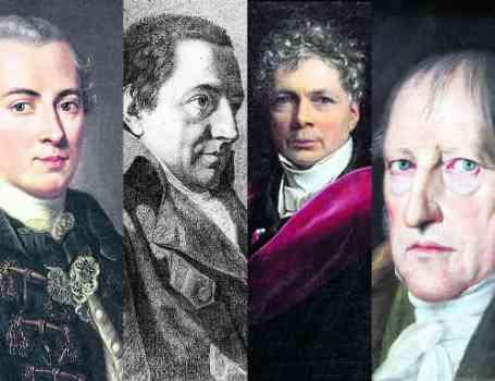 """Laut Slavoj Žižek die """"Mutter aller Viererbanden"""": Kant, Fichte, Schelling und Hegel. Bild: PD"""