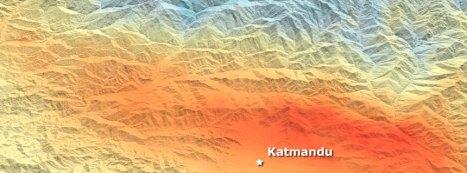 Bodenveränderung nach Erdbeben: Blau zeigt Senkung, Rot Hebung. NASA/ ESA/ DLR/ JPL