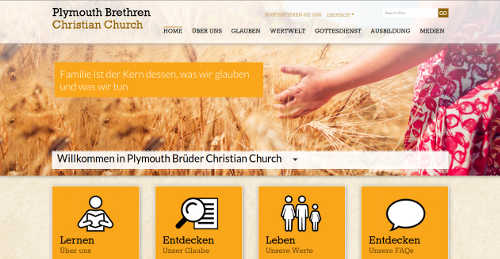 Homepage der Plymouth Brethren Christian Church. Screenshot: bb