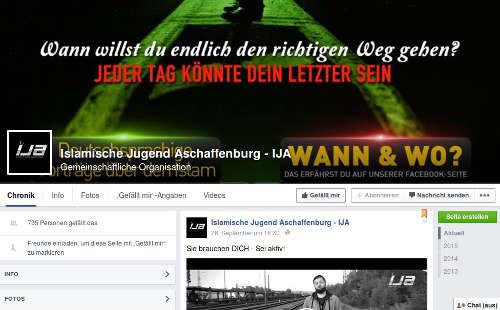 Islamische Jugend Aschaffenburg Facebook. Screenshot: bb