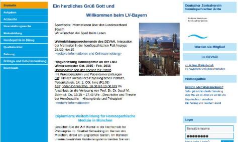 Deutscher Zentralverein homöopathischer Ärzte -HP Screenshot: bb