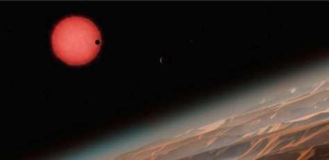 Artist's render of the TRAPPIST-1 system. Image: ESO/M. Kornmesser