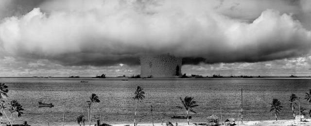 "The ""Baker"" explosion, part of Operation Crossroads, a nuclear weapon test by the United States military at Bikini Atoll, Micronesia, on 25 July 1946. United States Department of Defense/PD"