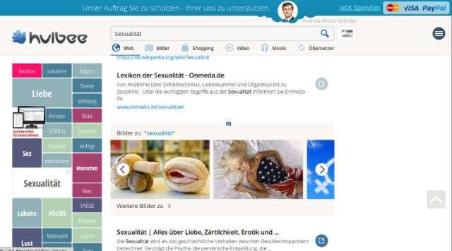 """Suchmaschine """"Hulbee"""". Screenshot: bb"""