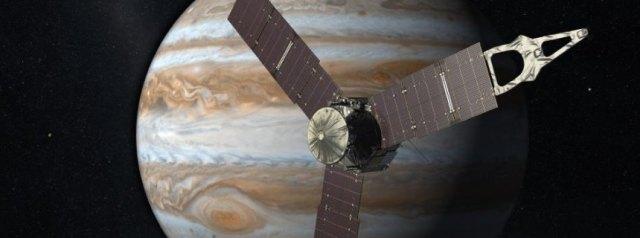 """Die Illustration der NASA aus dem Jahr 2010 zeigt die NASA-Sonde """"Juno"""" vor dem Planeten Jupiter. Foto: NASA/JPL +++(c) dpa - Bildfunk+++"""