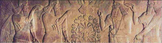 Stone relief from the throne room of Ashurnasirpal II. Nimrud, northern Iraq. Neo-Assyrian, 870–860 BC. (The mural most likely depicts cedar, not marijuana.) Image: The British Museum
