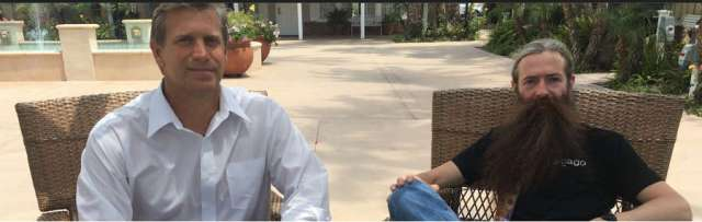 The author with Dr. Aubrey de Grey (right). Image: Joel Hirschfeld