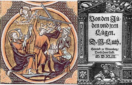 """links: Bildnis von Gewalt gegen Juden entstanden 1250 ;rechts: """"Von den Juden und ihren Lügen"""": mit dieser Schrift begann Martin Luthers Serie judenfeindlicher Schriften von 1543. Bild: zu-Daily.de"""