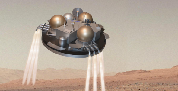 Concept art of Schiaparelli firing its retrorockets. Image: European Space Agency/Roscosmos/Rlevente