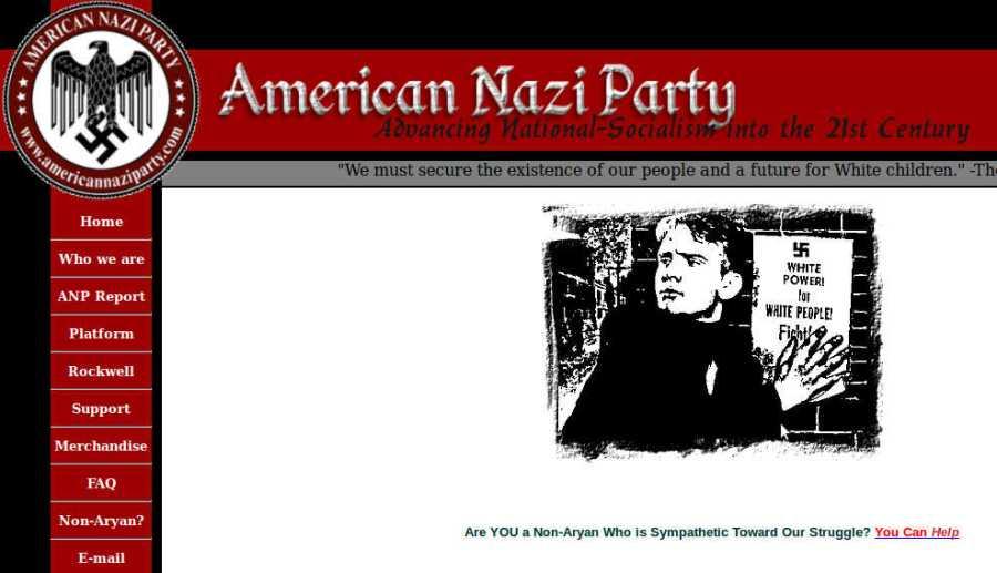 HP der American Nazi Party, Screenshot: bb