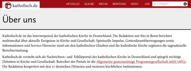 Über uns - katholisch.de. Screenshot: bb