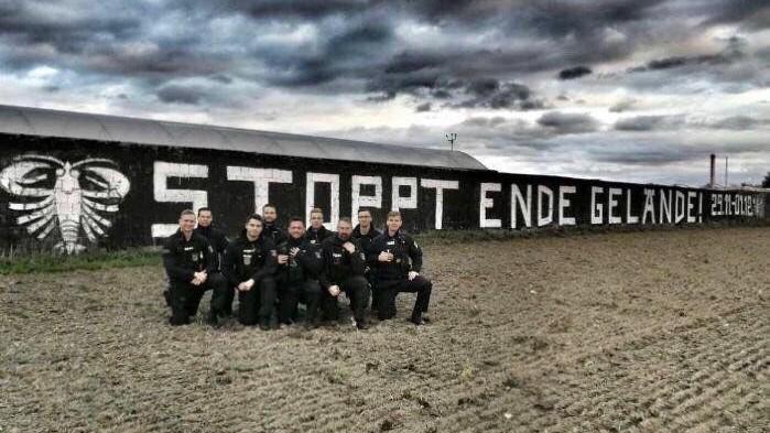 Kurz vor dem Start der Ende Gelände-Demos in der Lausitz ist dieses Foto im Internet aufgetaucht. © Foto: Screenshot