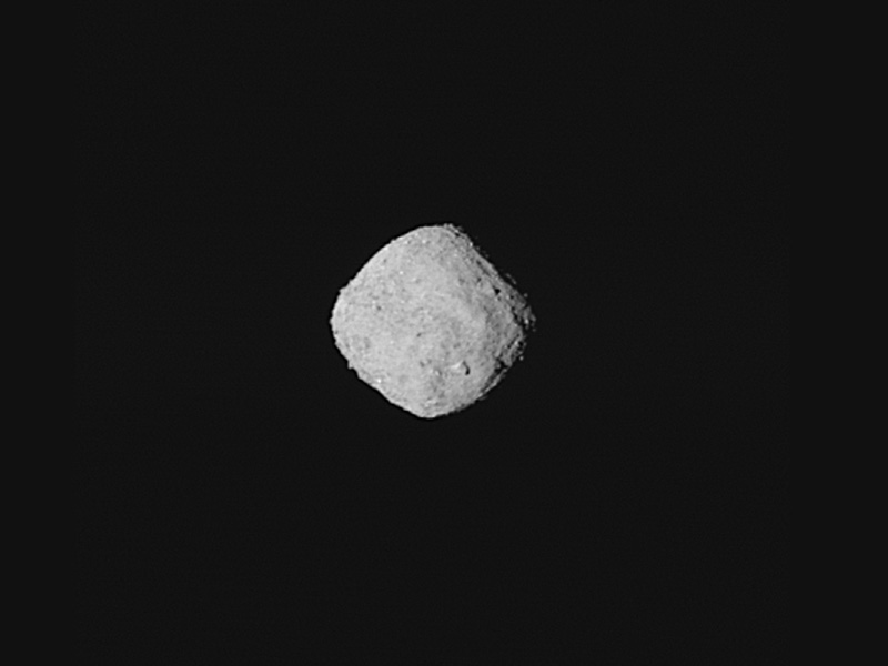 "This ""super-resolution"" view of asteroid Bennu was created using eight images obtained by NASA's OSIRIS-REx spacecraft on Oct. 29, 2018, from a distance of about 205 miles (330 km). Credit: NASA/Goddard/University of Arizona"