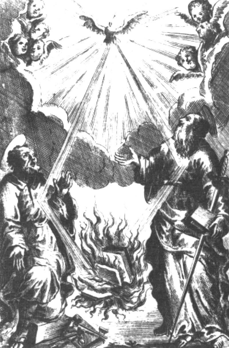 Index librorum prohibitorum. Der Heilige Geist entzündet das Feuer, das zu einer Bücherverbrennung dient, Kupferstich von 1711. PD