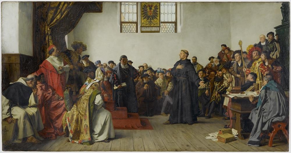 Luther vor dem Reichstag in Worms. Anton Werner, 1877. Bild: wikipedia.org/PD/Gemeinfrei